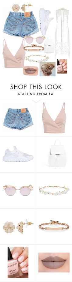 """Summer look"" by maisiemay21 ❤ liked on Polyvore featuring Levi's, River Island, NIKE, Mansur Gavriel, Le Specs, Robert Rose, Hoorsenbuhs and Jeffree Star"