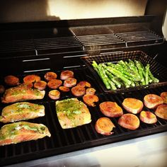 Salmon, cardamon and cinnamon sweet potatoes with asparagus all done on the grill. Served with quinoa! Perfect for #Phase3 #fastmetabolismdiet #hayliepomroy