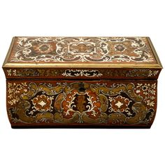 View this item and discover similar for sale at - century French Tea Caddy Box with fine inlays of wood, brass and ivory.