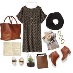 """Untitled #297"" by the59thstreetbridge on Polyvore; subtle print dress, infinity scarf, tobacco coloured accessories."