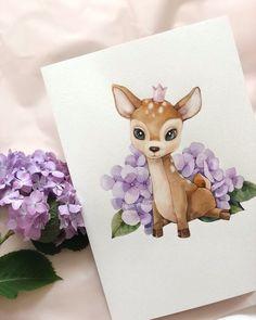 No automatic alt text available. Cute Animal Drawings, Cartoon Drawings, Cute Drawings, Watercolor Animals, Watercolor Paintings, Nature Sketch, Cute Paintings, Baby Art, Cute Illustration