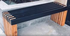 bench with slats colored dark blue woodworking bench woodworking bench bench base bench diy bench garage workbench bench plans bench plans australia bench plans roubo bench plans sketchup Woodworking Bench, Woodworking Projects, Sketchup Woodworking, Diy Outdoor Furniture, Outdoor Decor, Modern Outdoor Benches, Modern Bench, Diy Bank, Bois Diy