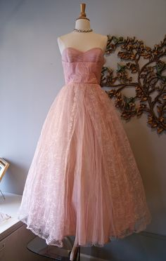 1950's embroidered tulle powder pink prom formal dress with matching jacket
