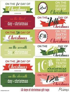 Adorable printable 12 days of Christmas tags. perfect for our 12 days of Christmas with Collin Merry Little Christmas, Christmas Gift Tags, 12 Days Of Christmas, Christmas Countdown, Winter Christmas, Christmas Crafts, Christmas Ideas, Xmas, Christmas Calendar