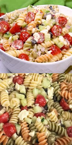 Easy Pasta Salad features tri-color rotini studded with diced olives and pime. Easy Pasta Salad Recipe, Salad Recipes Video, Best Salad Recipes, Healthy Dinner Recipes, Rotini Pasta Recipes, Pasta Salad Recipes Cold, Vegetarian Pasta Salad, Healthy Pasta Salad, Tortellini Pasta