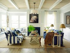 Love the blue and white nautical stripes on the sisal rug