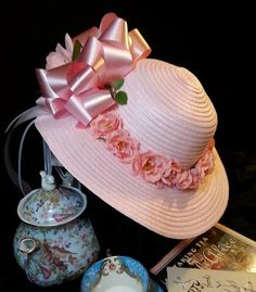 Pretty hat for tea party, derby, wedding, mother of the bride, wedding guest, church, dress up. Pink hat with pink silk roses surrounding entire