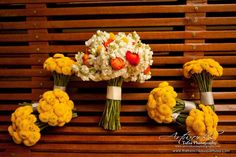 Colorful Bouquets and Bridesmaid Bouquets of Billy Buttons -The French Bouquet - Artworks Tulsa Photography