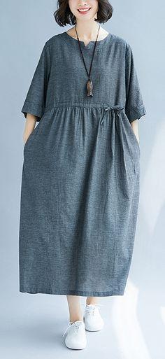 e6ab5fb71687 Women v neck cotton quilting clothes Runway gray Dress sundress