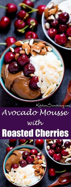 Avocado chocolate mousse bowl with roasted cherries - sweet, indulgent but healthier too!