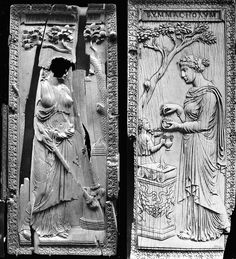 The diptych of Symmachi and Nicomachi is a carved ivory diptych perhaps dating back to 388/401 CE. Today, the two halves of the diptych, 29 cm high, are divided between the Victoria and Albert Museum in London and the Musée de Cluny in Paris. Done in Rome or Milan by skilled master craftsmen, the diptych celebrating the marriage between members of these two influential pagan Roman senatorial families.