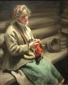 Girl from Dalecarlia knitting Painted by: Anders Zorn Orientation: Portrait Love Knitting, Knitting Needles, Knitting Patterns, Knit Art, Female Art, Les Oeuvres, Painting & Drawing, Folk Art, Oil On Canvas