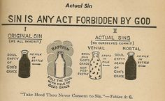 Original Sin and Actual Sins (Venial and Mortal) as explained by a drawing of milk bottles. (Baltimore Catechism)