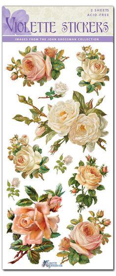 Hermosa Vintage blanco rosa pegatinas para fabricar 2 por tcastle1