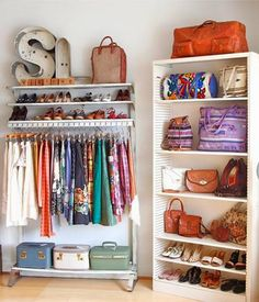 SMALL SPACES---It's alright if you don't have closet space.check out this external closet! The bookshelf is a great idea Closet Bedroom, Closet Space, Bedroom Storage, Wardrobe Closet, Bedroom Small, Bedroom Shelves, Bedroom Decor, Extra Bedroom, Basement Storage