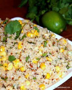 Lime, Corn and Cilantro Quinoa perfect for Cinco de Mayo, picnics, bbq's or potlucks.  Quick and easy to make.