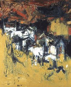 "More SH Raza; Village; Acrylic on canvas; 24"" x 19.5""; 1958."