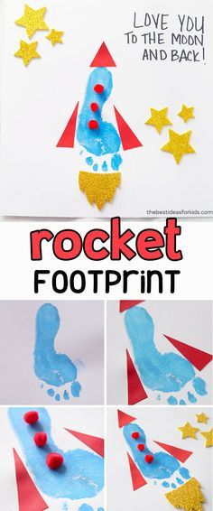 This footprint rocket is too cute for Father's Day! Kids will love making this footprint art for Dad. Add the saying love you to the moon and back, or you're out of this world Dad! An easy Father's Day Craft for Kids. This also makes a great handmade gift Kids Crafts, Baby Crafts, Toddler Crafts, Preschool Crafts, Quick Crafts, Toddler Art, Fathers Day Art, Easy Fathers Day Craft, Fathers Day Cards Handmade