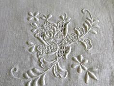 "Vintage White Linen Hand Embroidery Drawnwork 102"" Tablecloth 8 Napkins 