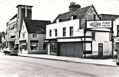 The courtyard around Furniss' yard in Epsom High Street was a warren of buildings, all swept away now except the Edwards & Sharp building standing in front of TK Maxx. Old Street, Tk Maxx, Surrey, Childhood Memories, Buildings, Nostalgia, Past, Street View, London