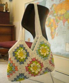 Granny borsa piazza con il fiore: passo dopo passo le immagini! - Crochet Passion