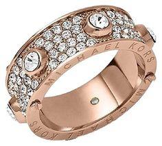 MICHAEL KORS Rose Gold & Crystal Embellished Ring Sz 7