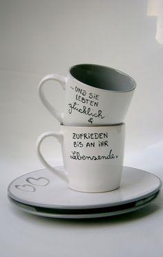 Becher & Tassen - Hochzeitsgeschenk oder zur Verlobung  ★ Tassen Set - ein Designerstück von Hoch-Die-Tassen bei DaWanda