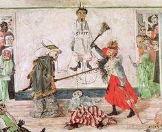 """peinture belge : James Ensor, 1891, """"Squelettes se disputant un pendu"""", mort, 1890s"""
