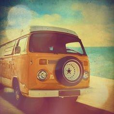 Surfer van, VW Kombi photo, with turquoise blue ocean, summer beach, orange, yellow, volkswagen, retro home decor - 4x4 fine art print