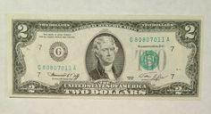 1976 $2 Two Dollar Bill G80807011A Federal Reserve Washington Bicentennial 76