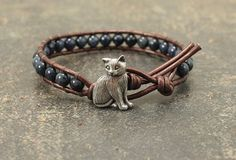 Leather Cat Jewelry Silver Bronze Denim Blue by singingcatstudio