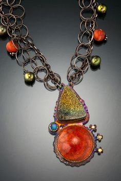 Julie Shaw necklace - coral, pyrite druzy, opal