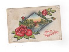 Hearty Congratulations. Roses and lake scene antique postcard. embossed, 1911 postmark. Collectible greeting card ephemera by PickleladyPapers on Etsy