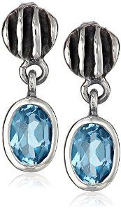 """Sterling Silver """"Waves"""" Lentil Blue Topaz Drop Earrings by Zina Sterling Silver available at joyfulcrown.com"""
