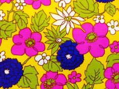 A 60's Electric  Floral Explosion Fabric Never Used 2 by KimberlyZ, $59.00