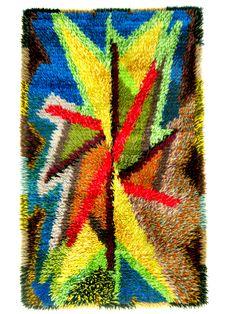 Vintage Scandinavian Rya carpet 1950's.  Amazing.