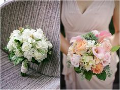 white roses, pink calla lilies, daisies, pearls and succulents