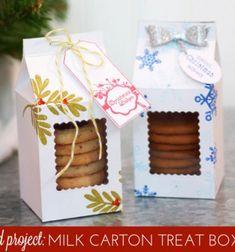 Milk carton shaped treat boxes ( with free template ) // Tejes doboz formájú sütis ajándék dobozok ( nyomtatható sablonnal ) // Mindy - craft tutorial collection // #crafts #DIY #craftTutorial #tutorial #ChristmasCrafts #Christmas