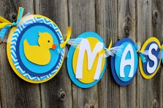Rubber Duck Yellow, Blue and Turquoise Chevron Stripe ITS A BOY or NAME for Baby Shower or Birthday Party Decoration  This listing is for a