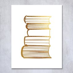 Stack of Books Gold Foil Print Poster Library Print Reading Study Modern Wall Art Decor 8 inches x 10 inches A19. Digibuddha(TM) real foil art prints are made by hand in our small shop just outside of Philadelphia. • Made with gorgeous luxe gold foil and premium pure white matte card stock. • Prints arrive unmatted, ready to be placed in your favorite frame. • Original design: all Digibuddha(TM) paper goods are exclusively created in-house by our design team. /// Stack of Books ///...