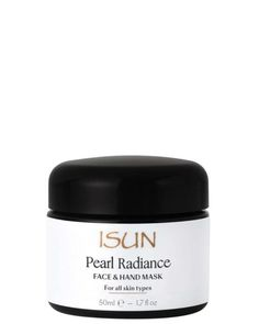 ISUN Skincare Pearl Radiance Face and Hand Mask for all skin types.  A blend of soothing and moisturising aloe vera, algae and honey provide a luscious base for skin brightening pearl powder, long favoured in the orient for its beauty enhancing properties. Australian Kakadu plum, rich in vitamin C, combines with turmeric, lemon and lavender oils. The result is a lovely aroma and enhanced appearance for beautiful moist and radiant skin.