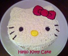 Adorable Hello Kitty Cake. Great idea for a little girl's birthday party!