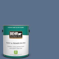 BEHR Premium Plus 1-gal. #600F-6 Atlantic Blue Zero VOC Semi-Gloss Enamel Interior Paint
