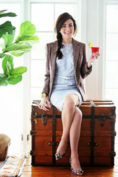 Maggy London Blazer and Dress + J.Crew Pumps  #Fashion Spring classy Girls Wear Pearls #Preppy Chic Clothing #Maggy London #Lace Organza Shealth Dress #Burberry Style Checked Blazer #J.Crew Shoes #Printed Jeweled-Toe Pumps