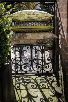 silk and linen cushion #elitis, #cushions, #outside, #spring