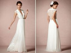 Strands of tiny pearls are artfully draped across the back of the Ortensia Gown from BHLDN