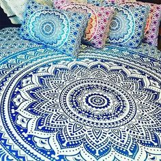 Indian Blue Hippie Mandala Bohemian Queen Psychedelic Handmade Tapestry - 100 % Cotton - Highest Quality & Pure Handmade Cotton Tapestries