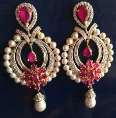 Beautiful ruby, American diamond with gold chandelier earrings