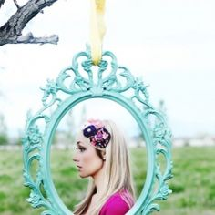 Make a fun photo booth using ornate frames with POPS of color!