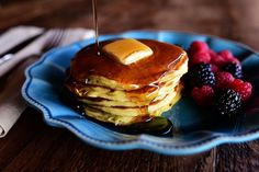 This is a deliciously direct (directly delicious?) descendant of Edna Mae's Sour Cream pancakes, which are pretty dadgum hard to beat if you ask me. But since I'm often asked if Greek yogurt can be...